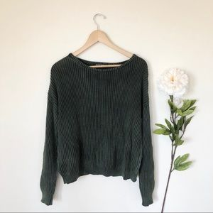 Brandy Melville | Olive Ribbed Scoop Neck Sweater